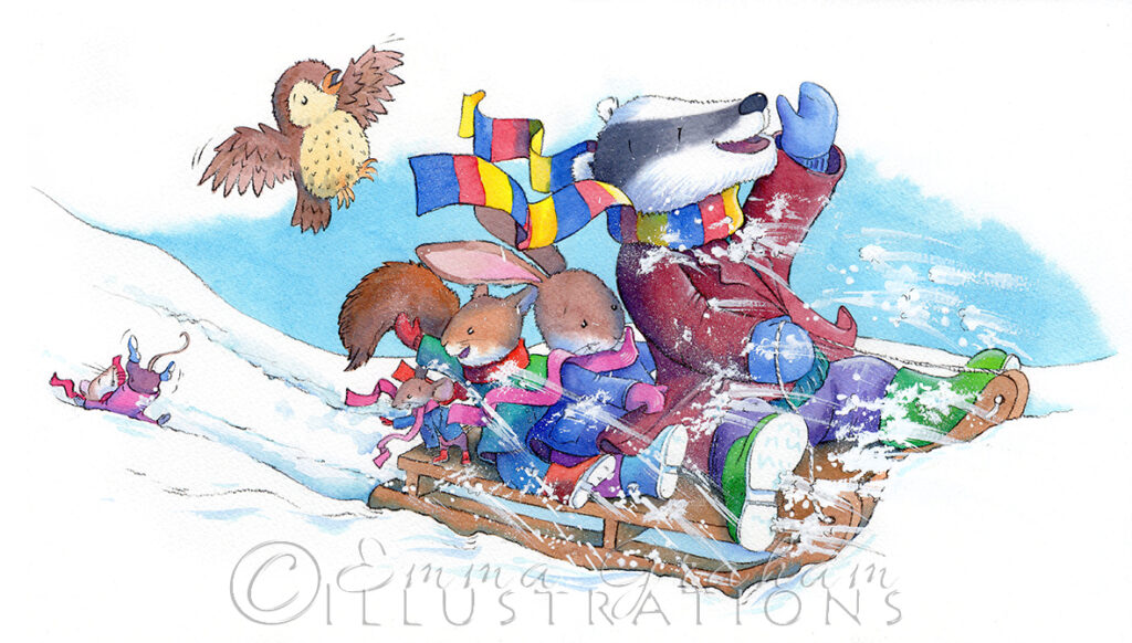 badger, rabbit, squirrel, mice and owl are sledging in the snow