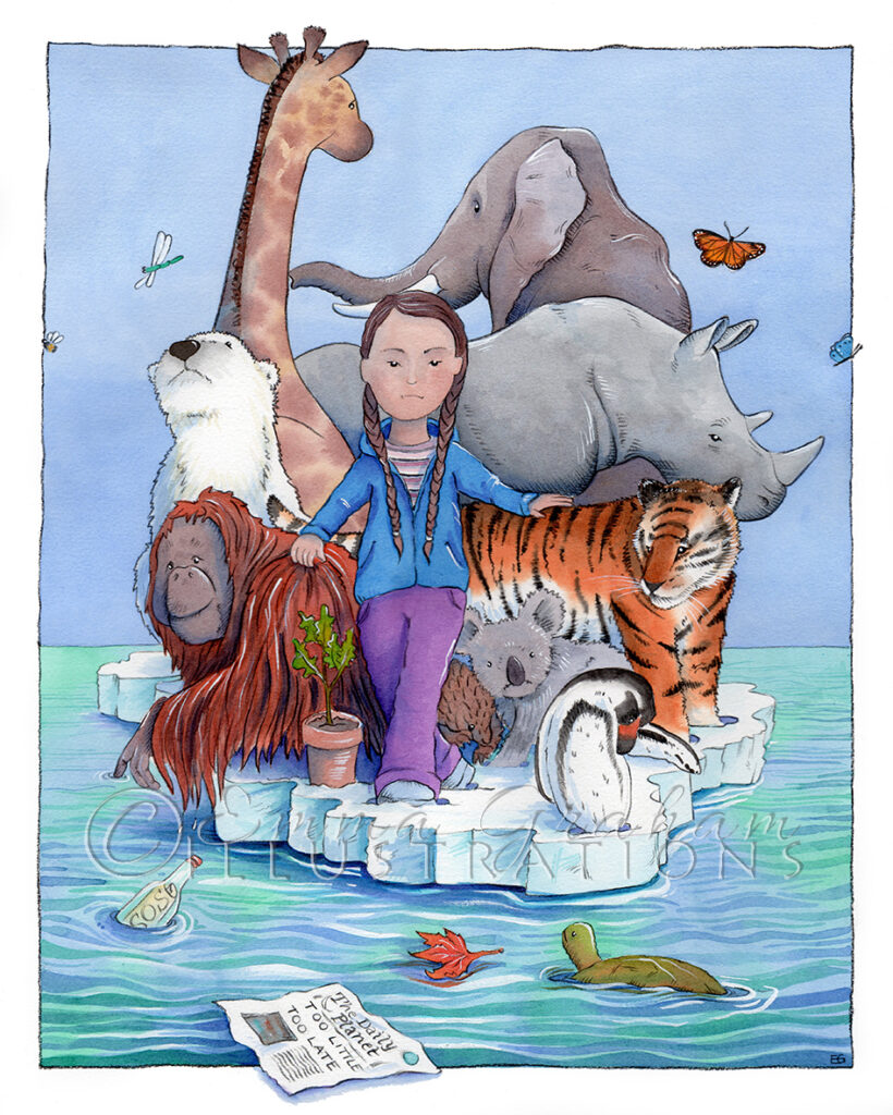 Greta on a small iceberg with a selection of endangered animals