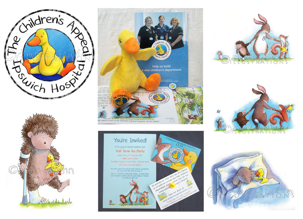 woodland animals branding and duck logo for the Children's Appeal at Ipswich Hospital