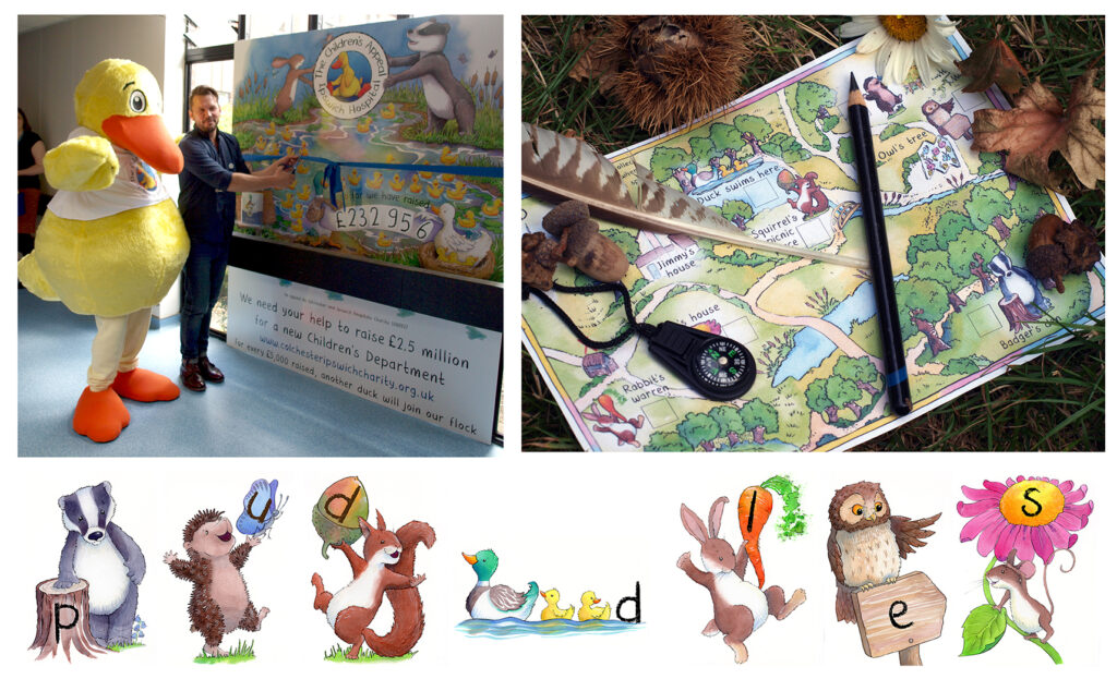 Totaliser, treasure hunt map and characters for The Children's Appeal at Ipswich Hospital
