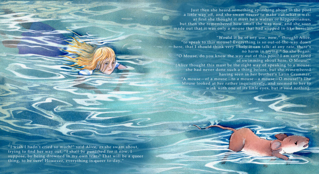 Alice swims in the pool of tears