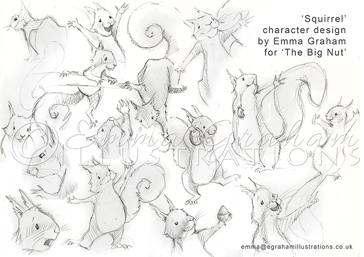 pencil drawings of squirrel character