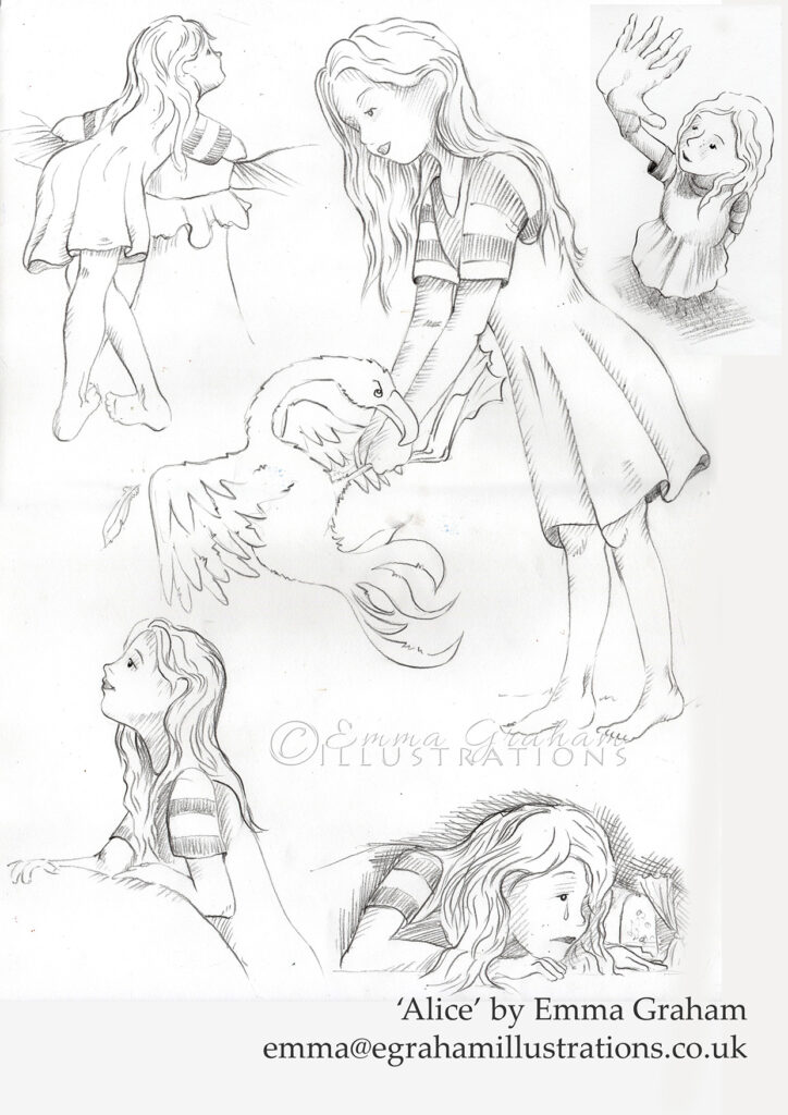 pencil drawings of Alice