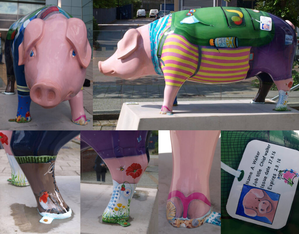 pig sculpture dressed for walking and adventure activities