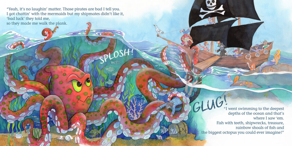 Giant octopus attacks a pirate ship
